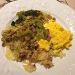 Omelette aux choux verts et lardons bio